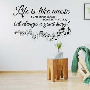Muursticker life is like music wi