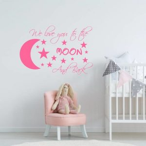 muursticker love you to the moon wit